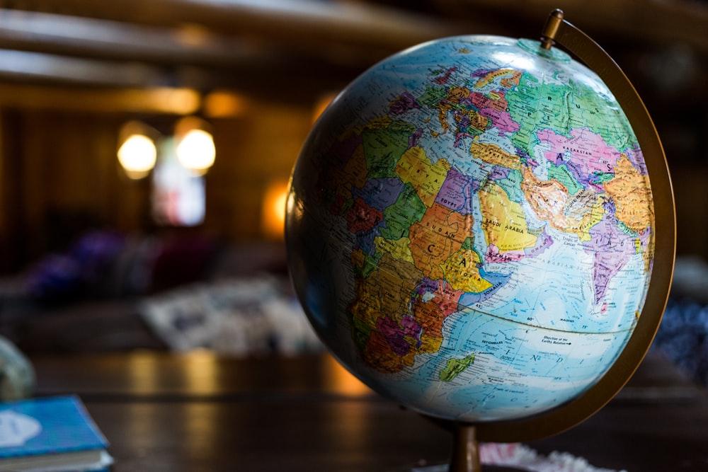 desk globe on table
